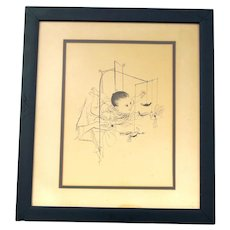 Rare Original David Stone Martin 1913-1992 ~ Baby with Bird Mobile ~ Pen & Ink ~ Signed