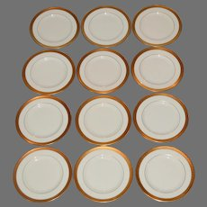 """12 Pickard 6 3/8""""  Bread & Butter Plate Set~  Hand Painted with Encrusted Diamond Rim ~ Jefferson Pattern ~ Pickard Studios Chicago IL  1938 +"""