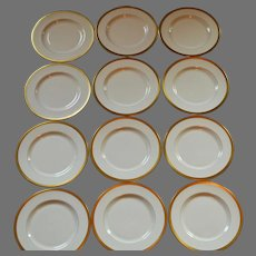 """Pickard 10 3/4"""" Dinner Plate ~SET OF 12  ~ Hand Painted with Encrusted 24K Gold Diamond Rim ~ Jefferson Pattern ~ Pickard Studios Chicago IL 1938 +"""