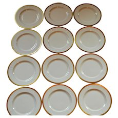 "Pickard 10 3/4"" Dinner Plate ~SET OF 12  ~ Hand Painted with Encrusted 24K Gold Diamond Rim ~ Jefferson Pattern ~ Pickard Studios Chicago IL 1938 +"