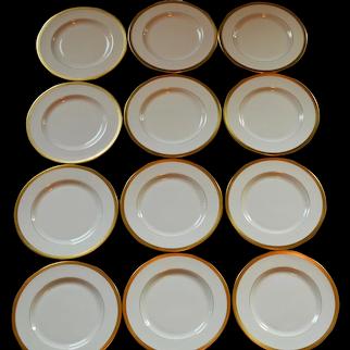 "Dinner Plate ~SET OF 12  ~ 10 3/4""   24K Gold Diamond Rim ~ Jefferson Pattern ~ Pickard Studios Chicago IL 1938 +"