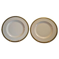 """Pickard 10 3/4"""" Dinner Plates ~ Hand Painted with Encrusted 24K Gold Diamond Rim ~ Jefferson Pattern ~ Pickard Studios Chicago IL 1938 +"""