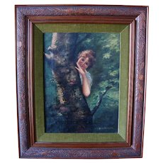 Framed Oil Painting on Canvas of Girl by Tree ~ by Astrid F Okerlund (1939)