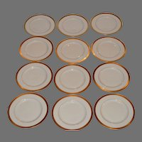 "12 Pickard  8 1/4"" Salad / Dessert Plate Set ~  Hand Painted with Encrusted Diamond Rim ~ Jefferson Pattern ~ Pickard Studios Chicago IL  1938 +"