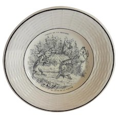 Adorable Childs Plate ~ Fables de la Fontaine  ~ The Tortoise and the Hare ~ Digion/Sarreguemines  1919-1940's