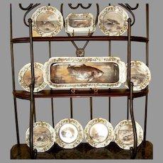 Haviland Limoges Porcelain Fish Set ~ Original Reissue of President Rutherford B Hays Design ~ Haviland & Co Limoges France 1887-1889