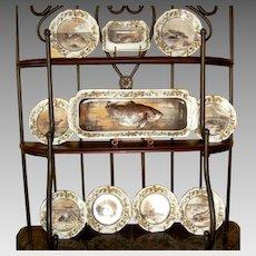 Fish Set Limoges Porcelain ~ Plates Platter Etc ~ Re-issue of President Rutherford B Hays Design ~ Haviland & Co Limoges France 1887-1889