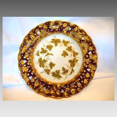 Unique German Porcelain Plate ~ Reticulated Rim ~ Purple and Gold ~ Grapes ~ C. TIELSCH & Co.  Germany - ca 1875 - 1930s