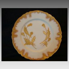 "Outstanding Haviland & Co Limoges Porcelain Plate ~ Nearly 9"" Hand Painted with Golden Thistle Flowers ~ Rococo Gold Rim  ~ Limoges France ~1876-1889"
