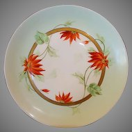 Beautiful Pickard Decorated Porcelain Cabinet Plate ~ Hand Painted with Red Poinsettia's ~ Pickard Studio Chicago IL ~ 1912-1918