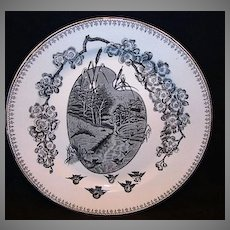 "Nice 9 5/8"" English Black Transferware Cabinet Plate ~ Countryside with Birds ~ Springtime Pattern ~ Clementson Bros Hanley England June 4th 1883"