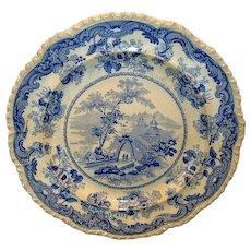 "Wonderful 10 ½"" English Earthenware Aesthetic Cabinet Plate ~ Blue Transfer ~ Chinese Marine Pattern ~ Thomas Fell England1817-1830"