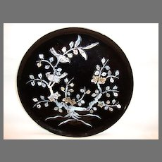 Remarkable Black Lacquer Plate with Flowering Tree and Birds Inlaid
