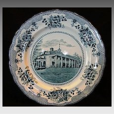 Nice Dark Teal Transferware Plate ~ American Scenes: Washington Home Mt. Vernon~ Buffalo Pottery Buffalo NY 1903-1910