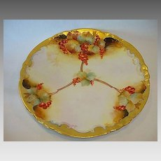 Gorgeous Limoges Porcelain Plate Decorated by Pickard Studio with Red Currants ~ Signed M Rost Leroy ~ A. KLINGENBERG & CHARLES L. DWENGER (Limoges, France) - ca. 1890 - ca 1910s