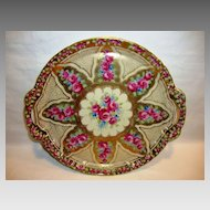 "Fantastic 12 ¼"" W Porcelain Cake Plate / Tray ~ Red Roses Gold Moriage Beading ~ attributed to Nippon"