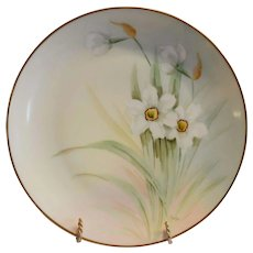 Bavarian Plate Pheasant's Eye Daffodils / Narcissus – Hand Painted by Curtis Marker ~  Bavaria / Pickard Studios Chicago IL 1912-1918