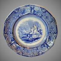 Fantastic old English Blue and White Transferware 12 sided Plate ~ Colonna Pattern ~ T Goodfellow Tunstall Staffordshire England 1851-1852