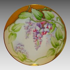 "Amazing Limoges France Cabinet Plate ~ Hand Painted with Purple & Pink Wisteria ~ ""Wistaria"" Latrille Freres Limoges France 1908-1913"