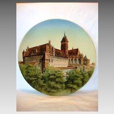 "Impressive 17 ½"" Faience Plaque ~ Marienburg Castle Germany by Villeroy Boch Mettlach Germany 1874-1809"