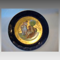 "Nice 10"" Porcelain Cabinet Plate ~ Angelica Kaufmann ~ Transfer on Cobalt and Gold  ~ VICTORIA PORCELAIN - SCHMIDT & CO. Bohemia - ca 1891 - 1918"
