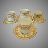 4 - Beautiful English Demitasse Cup and Saucer Sets ~ Aynsley England ca.~1883