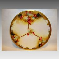 "Gorgeous Limoges Porcelain 7 1/4"" Plate ~ Pickard Studio Decorated with Red Currants ~ Signed M Rost Leroy ~ Limoges, France - ca. 1891 - 1906"