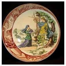 "Great Sarreguemines France Faience ""(Jeanne) Joan Of Arc At Chesnu Forest"" Plate / Plaque – Utzschneider & Co. Sarreguemines France 1900-1930"