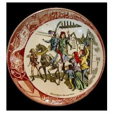 "Great Sarreguemines France Faience ""(Jeanne) Joan Of Arc Going to see the King"" Plate / Plaque – Utzschneider & Co. Sarreguemines France 1900-1930"