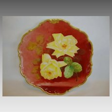 Wonderful Limoges Porcelain Plate ~ Hand Painted with Yellow Roses by MAX ~ Flambeau China Limoges France 1890-1900