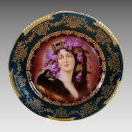 "Superb Art Nouveau Portrait Plate of ""Epheu ~ Royal Vienna Style ~ Hand Painted ~Zeh, Scherzer & CO  1890-1910"