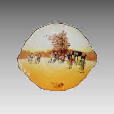 """Royal Doulton's Coaching Days Series Cake Plate~ D2716 Scene #13~ """"Harnessing Horses"""" ~ Royal Doulton England 1906"""