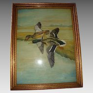 UNIQUE Reverse Glass Oil Painting with Painted Board & Frame ~ Two Mallard Ducks in Flight ~ Signed BISHOP