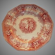 "Wonderful English Pink Ten-sided  Transfer Plate 8.25"" Mycene Pattern ~ Hulse, Nixon & Adderley Staffordshire England 1853-1868"