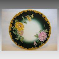 Gorgeous Limoges Porcelain Plate ~ Hand Painted with Yellow and Pink Chrysanthemums / Mums ~ Tressemann & Vogt  Limoges France 1900
