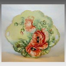 "Beautiful 12"" Porcelain Cake Plate ~ Hand Painted with Orange Poppy Flowers ~ Signed Hulette  ~ Malmaison Mold~ Rosenthal Bavaria 1938-1952"