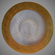 "Gorgeous 14"" Glass Tray / Charger ~ 2"" Gold Encrusted Edge ~ Sunburst middle"