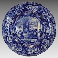 "Wonderful Cobalt Blue and White 10"" Plate ~ ""Sam Weller Astonishes Job Trotter"" Pickwick of Charles Dickens ~ Ridgways England 1903"