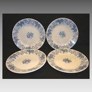 "4 ~Nice French Blue Faience 8"" Salad Plates ~ Blue Leave & Vines ~ Houblon pattern ~ UTZCHNEIDER & CO (Sarreguemines, France) - ca 1900"
