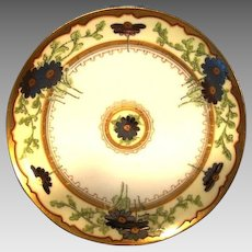 "Awesome Limoges Stouffer Decorated Plate ~ Hand Painted with Platinum Daisy Flowers ~ Signed ""Bordos"" Haviland France / Stouffer Studios Chicago Il. 1906-1914"