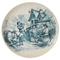 """Wonderful 11"""" French Tavern Scene Plate / Wall Plaque by Louis Mimard ~ Men at Tavern Drinking ~ H Boulenger & CO Choisy le Roi France 1860 - 1910"""