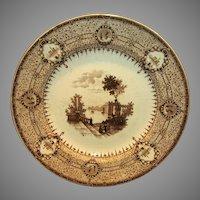 Wonderful Brown Transferware 16 sided English plate ~ The Gem Pattern ~  T. J. & J. Mayer Longport England 1842-1855