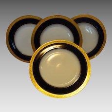 """Set of 4 Gorgeous Limoges Porcelain 8 5/8""""  Plate Set ~ Cobalt Blue ~ Gold Encrusted Rim ~ M Redon & PL Limoges, France 1905-1930."""