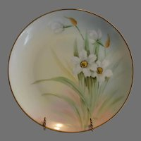 Daffodils / Narcissus Porcelain Plate – Hand Painted by C. Marker Pickard Studios Chicago IL 1912-1918p