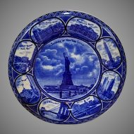 "Beautiful Staffordshire Dark Blue "" Souvenir of  New York City"" 10""  Plate  ~R&M CO The Rowland & Marsellus Co. Staffordshire England 1893-1938"