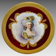 Exquisite Portrait Plate of Marie Antoinette ~ Hand Painted Limoges Porcelain ~  Gold Encrusted Rim ~ Bawo & Dotter Elite Works Limoges France 1900+