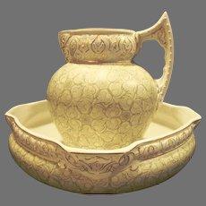 Superb Aesthetic Calvertine Ware Pitcher & Washbowl Set ~ Castilian ~ unmarked DF Haynes BALT Chesapeake Pottery Baltimore MD 1900-1914