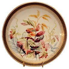 Gorgeous English Art Plate ~ Factory Decorated with Foliage and Berries ~ Royal Worcester England  1885