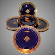 REDUCED!!  Set of  (12) Twelve Awesome French Faience Cobalt  Gold Filigree ~ Utzschneider & Co Sarreguemines France 1889 -1892