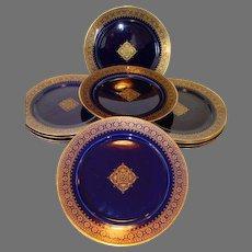 REDUCED!!  Set of  (12) Twelve Awesome French Faience Cobalt  Gold Filigree ~ Utzschneider & Co Sarreguemines France 1889 -1892